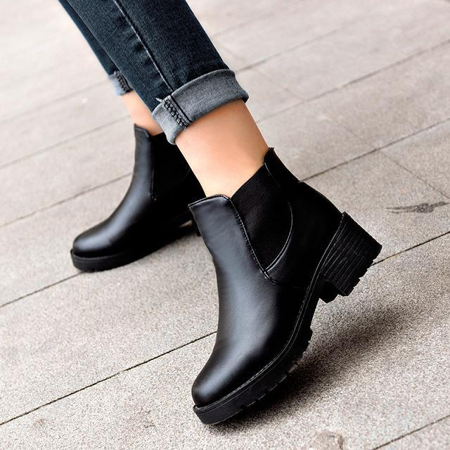 Гаджет  2015 New Promotional Winter Autumn Women Boots Platforms Square Heel Ankle Boots Paint Leather Boots Motorcycle Botas Lady Shoes None Обувь