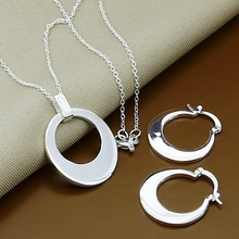 2016 New Arrival, Free Shipping, Wholesale Fashion Jewelry Silver Plated Round Pendant Necklaces & Hoop Earrings(China (Mainland))