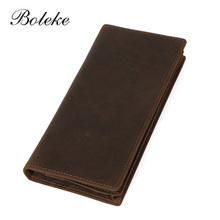 High Quality Men Genuine Leather Wallet Purse Business Vintage Card Holder Crazy Horse Leather Long Organizer Clutch Pouch 8030(China (Mainland))