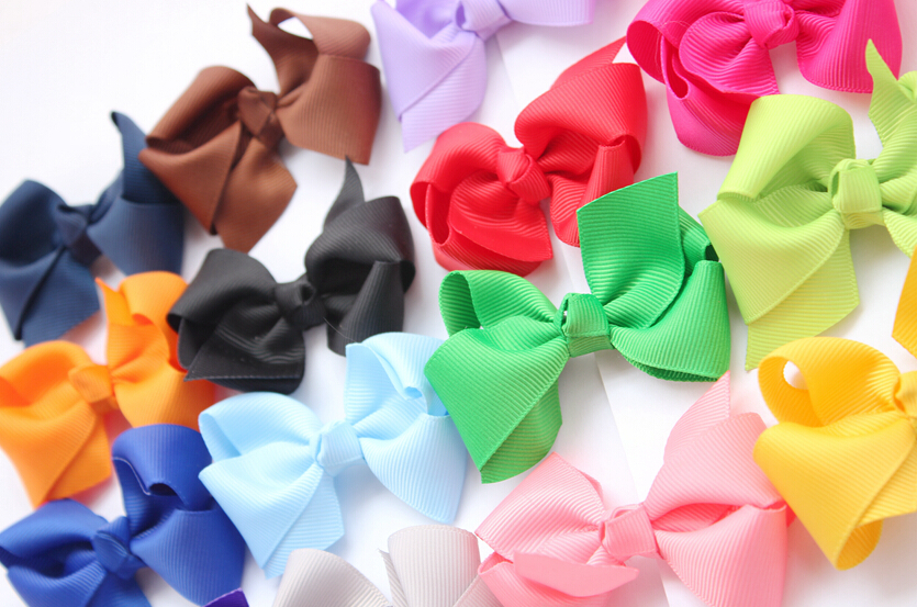 NEW Grosgrain Ribbon Pinwheel Bows WITHOUT Clip,Baby Girls' Hair Accessories Boutique Hair Bows 100pcs satin bows for girl(China (Mainland))