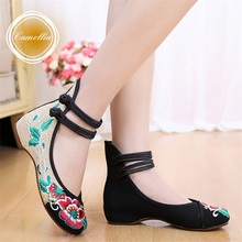 Fashion Women's Shoes Chinese Style Casual Flats Shoes Soft Sole Cozy Retro Embroidery Walking Cloth Shoes Woman Plus Size 41(China (Mainland))