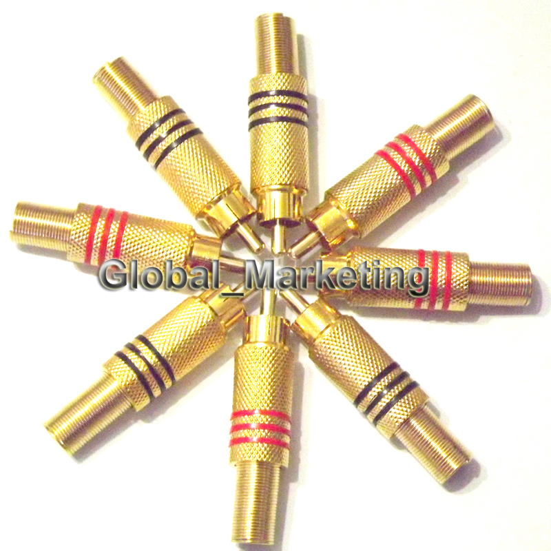 8 Pieces Gold Plated RCA Plug Audio Male Connector w Metal Spring 4 Pairs Free Shipping(China (Mainland))
