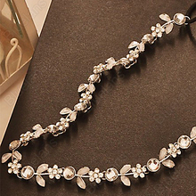 Fashion Women's Hot New Silver Crystal Rhinestone Flower Elastic Hair Band Headband Hair Accessories Free Shipping 00GF(China (Mainland))