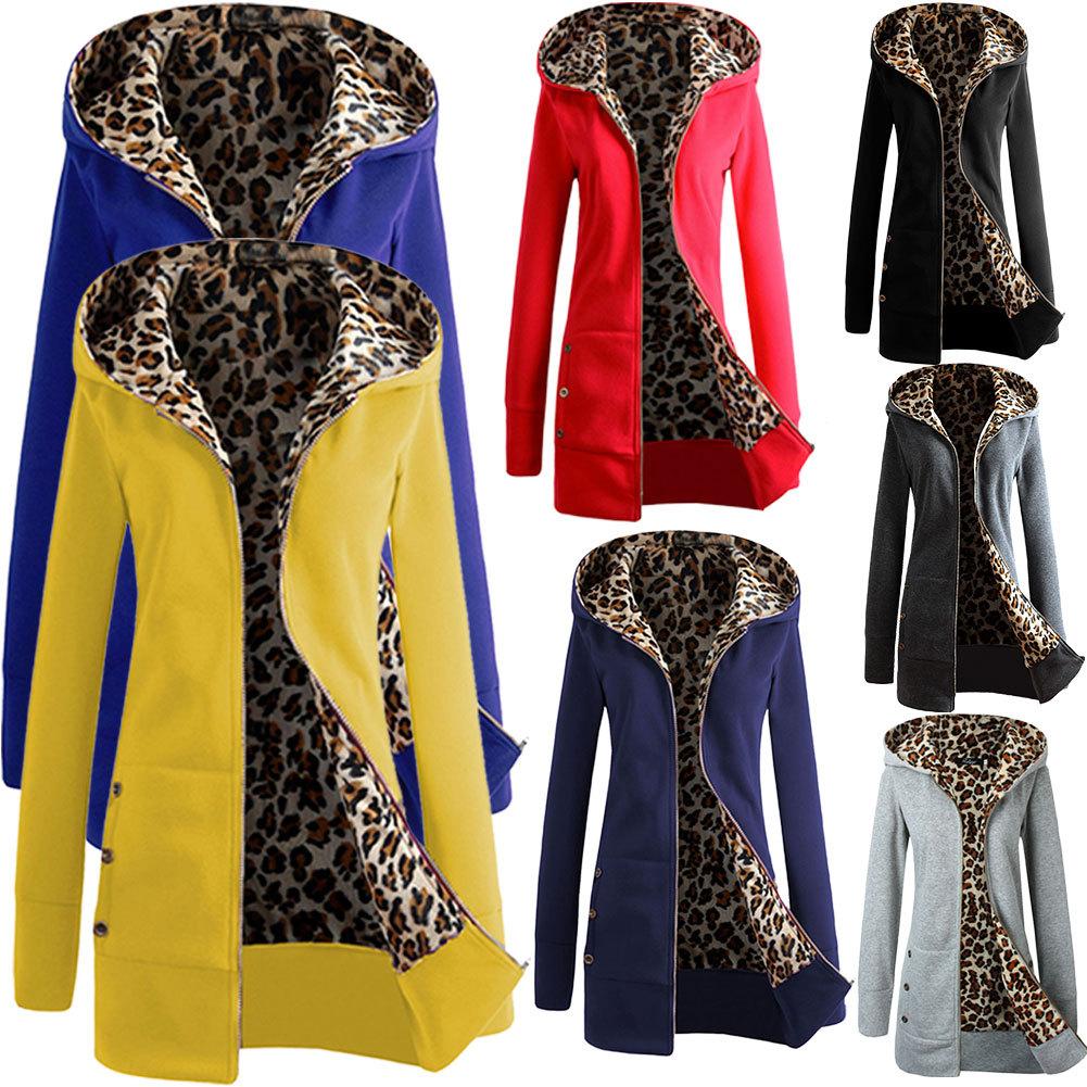 2016 Autumn Winter Women Coats Hooded Thickening Jackets Leopard Female Printed Fleece Lady Long Casaco Slim Warm Coat