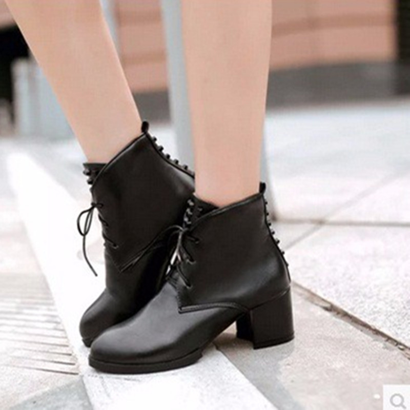 Ladies Cheap big sizes4-12)warm velvet Rivets Lace-up Pointed toe PU Ankle Med Square high heeled boot winter boots women Bootie<br><br>Aliexpress