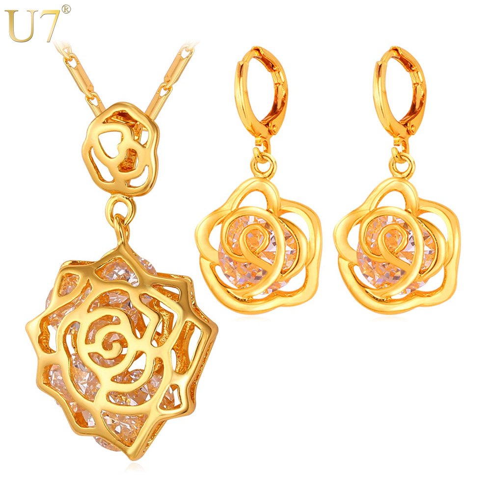 Romantic Rose Necklace Set 18K Real Gold Plated Top Quality Cubic Zirconia Necklace/Earrings Fashion Jewelry Sets For Women S410(China (Mainland))