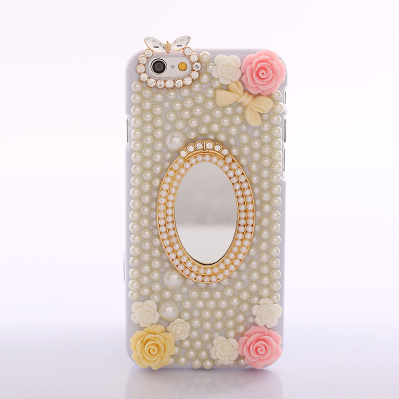 Latest Style Luxury Fashion Flower Pearl Design 3D Lovely Phone Bags Case For iPhone 6 E-shine Jewelry F1007WW(China (Mainland))