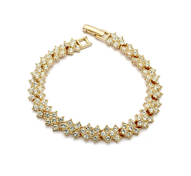Clear Crystal 18K Gold Plated Bracelet Jewelry Made Genuine Austrian Crystals IBC051 - szwxfx store (MOQ:15USD store)