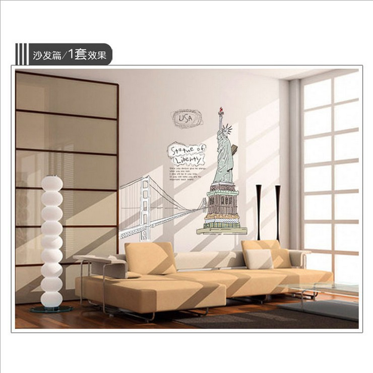 New Hot Sale DIY statue of liberty wall sticker Waterproof Removable PVC Vinyl Art Decor Home Wall Stickers AY807(China (Mainland))