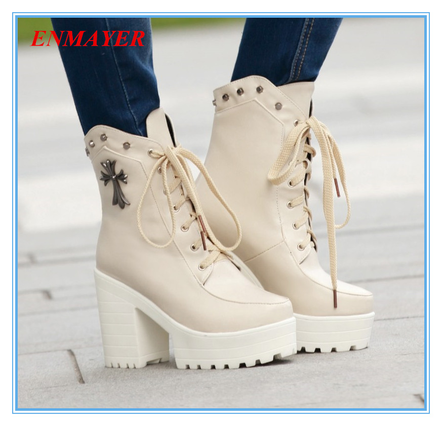 ENAYER 2014 NEW arrivals punk martin boots thick high heels boots for women hot sale short knight boots with rivet lace-up<br><br>Aliexpress