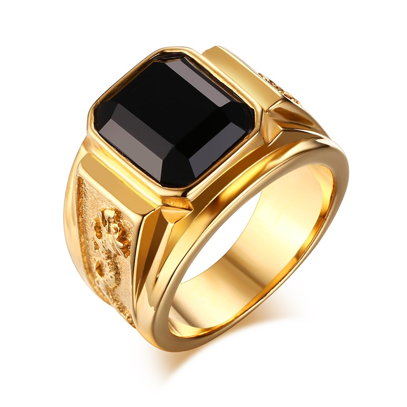 Men Dragon Ring Quality Gold Plated Titanium Ring Black Stone Crystal Ring Stainless Steel Jewelry(China (Mainland))