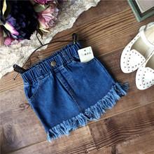 BabyPalace wholesale New 2016 spring summer girls solid tassel denim skirt kids fashion skirts wholesale(China (Mainland))