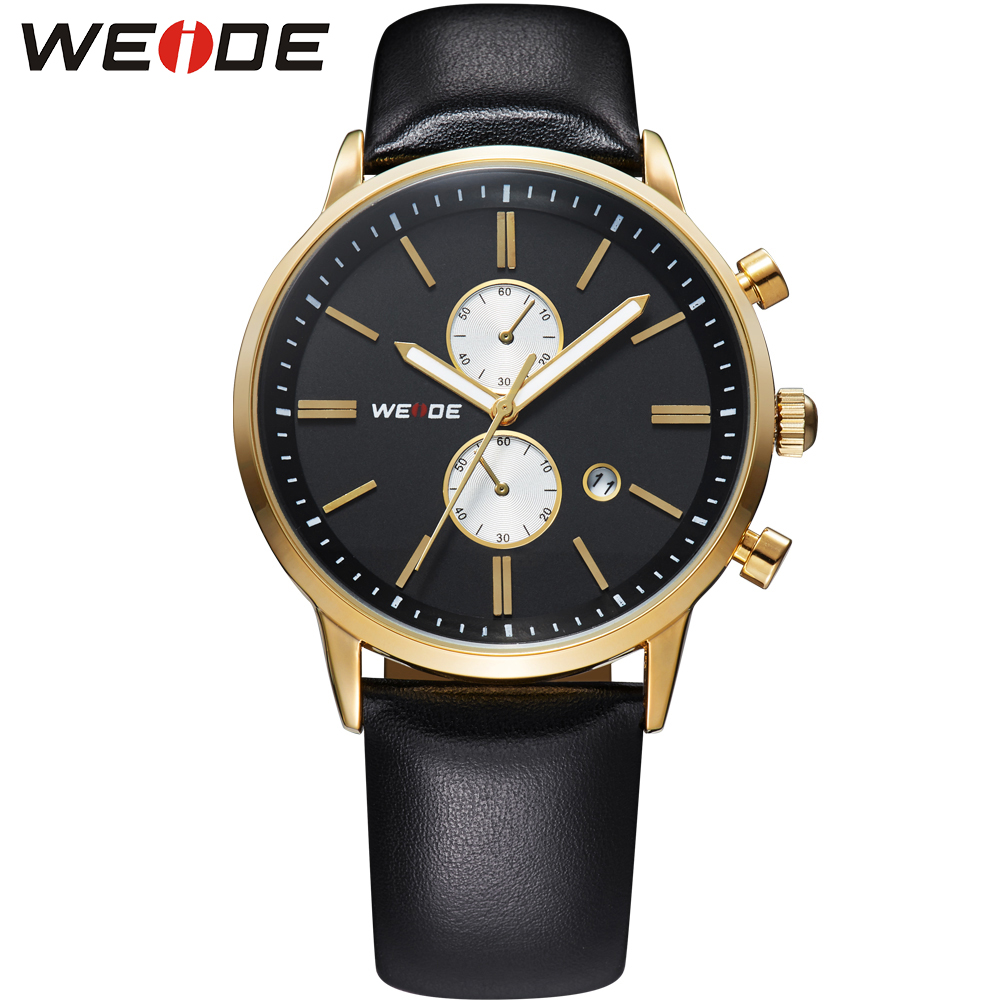 WEIDE Luxury Brand Business Casual Black Gold Watch Men Leather Strap Japan Quartz Movement Calendar 3ATM Waterproof Sale Items