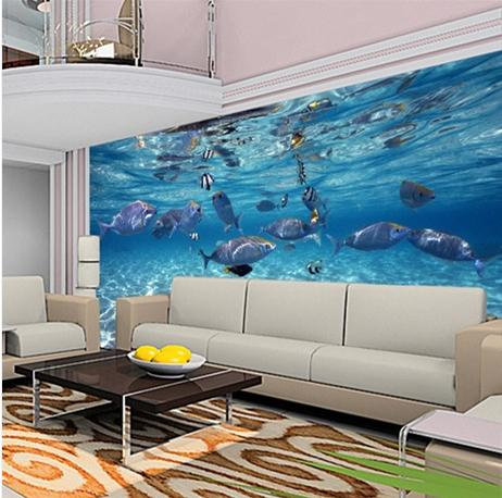 Custom mural wallpaper aquarium 3d photo wallpaper for for 3d mural wallpaper for bedroom