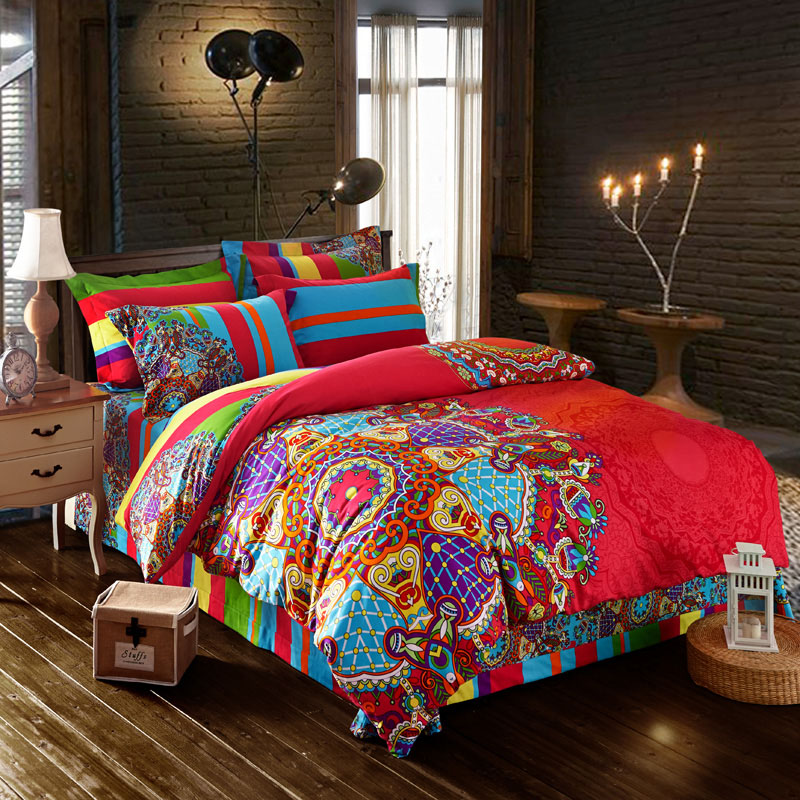 wedding decoration housse de couette juegos de sabanas parure de lit paisley bohemian bedding. Black Bedroom Furniture Sets. Home Design Ideas