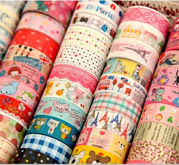 Гаджет  10pcs/lot Free shipping cartoon tape DIY multicolour vintage longer 5 meters Office Adhesive Tape None Офисные и Школьные принадлежности