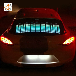 Colourful Flash Car Sticker Music Rhythm LED EL Sheet Light Lamp Sound Music Activated Equalizer car fireboats Stickers(China (Mainland))