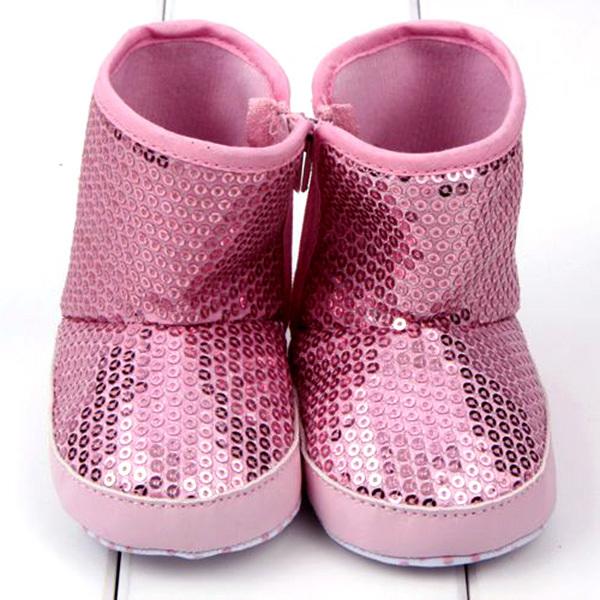Блесток Девочка Сапоги Мягкой Подошвой Против Скольжения Теплый Малыша Ботинки