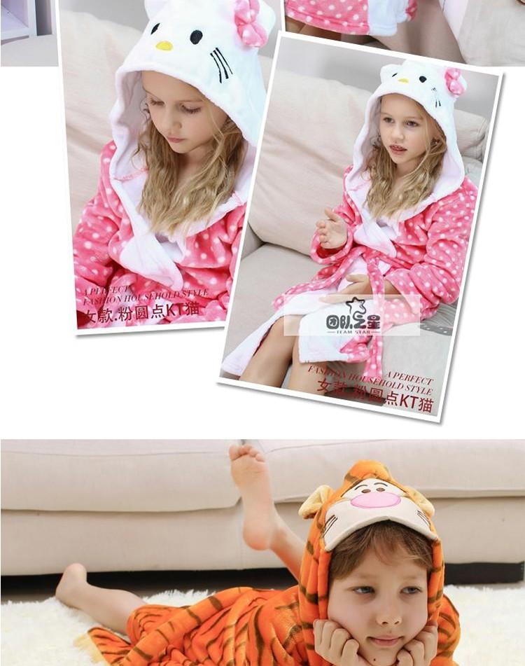 Скидки на Детские коралловый флис фланель Ночной Рубашке пижамы утолщенной детские халат с капюшоном с длинными рукавами одежды для Обустройства Дома мальчик девочка