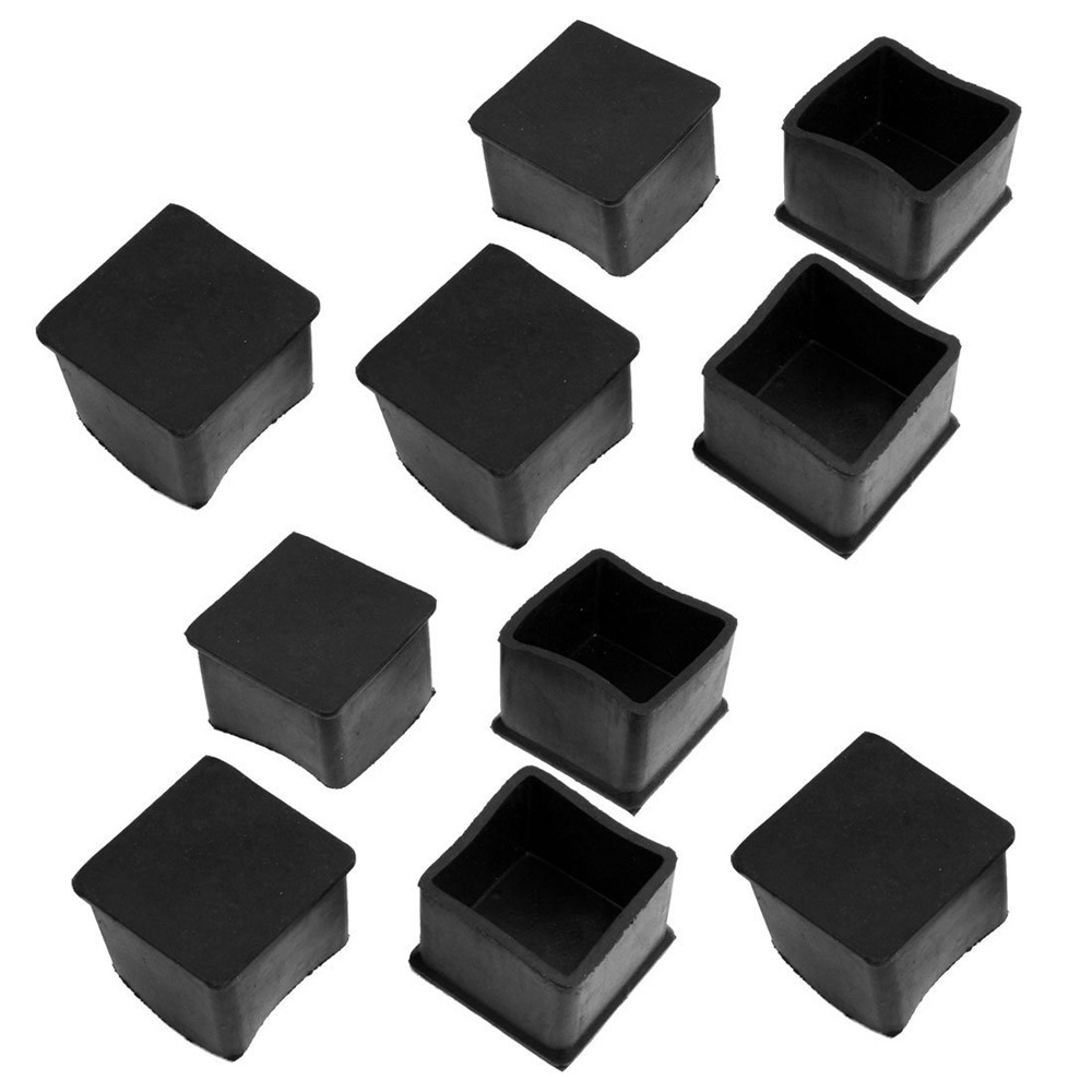 2015 Gift 10 Pcs Black Rubber Square 38mm x 38mm Table Chair Leg Protective Foot Cap(China (Mainland))