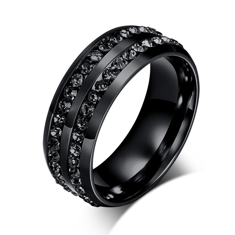 Mens Jewelry Black Crystal Rings Stainless Steel Wedding Ring Fashion Engagement Ring