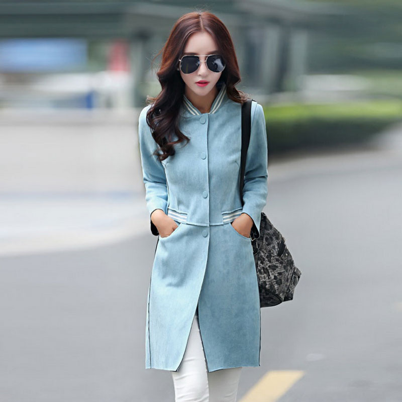 2016 Spring New Korean Version of Large Size Women Long Section of Ms. Slim Was Thin Windbreaker Jacket N33