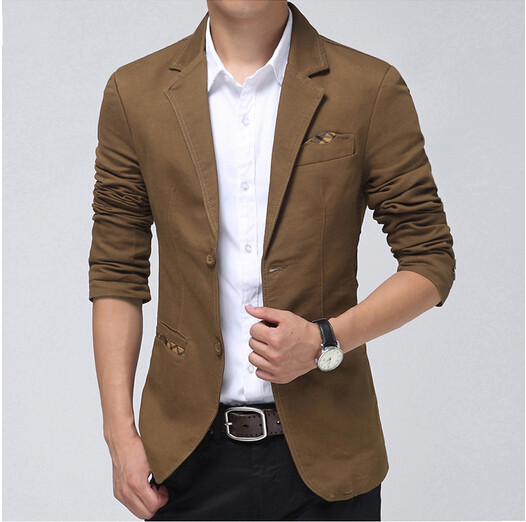 Casual Blazer Men Khaki,Brown, Black Fashion Slim Mens Blazer Suit ...
