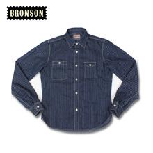 2015 bronson stripe long-sleeve shirt male blue denim stripe shirt vintage(China (Mainland))