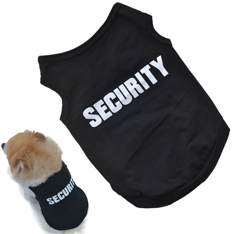 Newly Design SECURITY Black Dog Vest Summer Pets Dogs Cotton Clothes Shirts Apparel July17