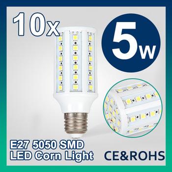 Free Shipping 10pcs/lot 5W E27 AC 85-265V Warm White/Cool White 36LEDs 500LM SMD Led bulb Corn Light Bulb Energy Saving led lamp