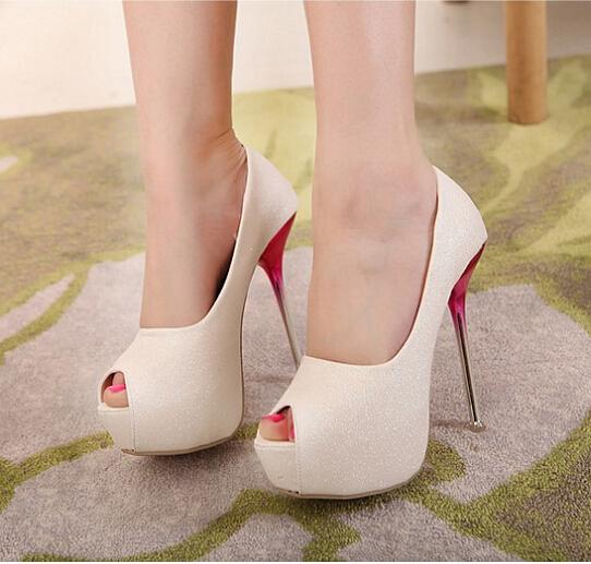2015 Ladies Brand Sexy High Heels Fashion Women Noble Pumps Peep-Toe Glitter Stilettos Heels Designer Shoes Woman(China (Mainland))