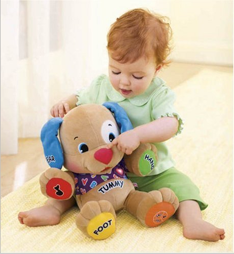 Fisher Dog Toys Baby Musical Dog Electronic Plush Toys Dog Singing English Songs Learning&Educational Function High Quality(China (Mainland))
