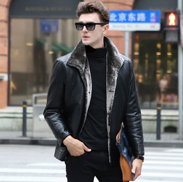 Hot! 2015 Winter New Brand Black Leather Jackets Men Turn-down Collar Single Breasted Men's Leather Jackets Casual Outwear Coats