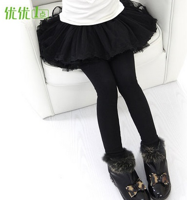 Children's clothing female child legging autumn winter basic skirt pants plus velvet thickening