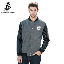 Pioneer Camp 2017 Новое поступление Мужская куртка Модняя весняя и осенняя куртка куртка с PU руковом 622022(China (Mainland))