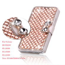 Luxury Bling Crystal & Diamond Leather Flip Lady Bag Cover For Samsung Galaxy S5 SV , S4 IV ,S3 III ,3 Models Phone Case Cover