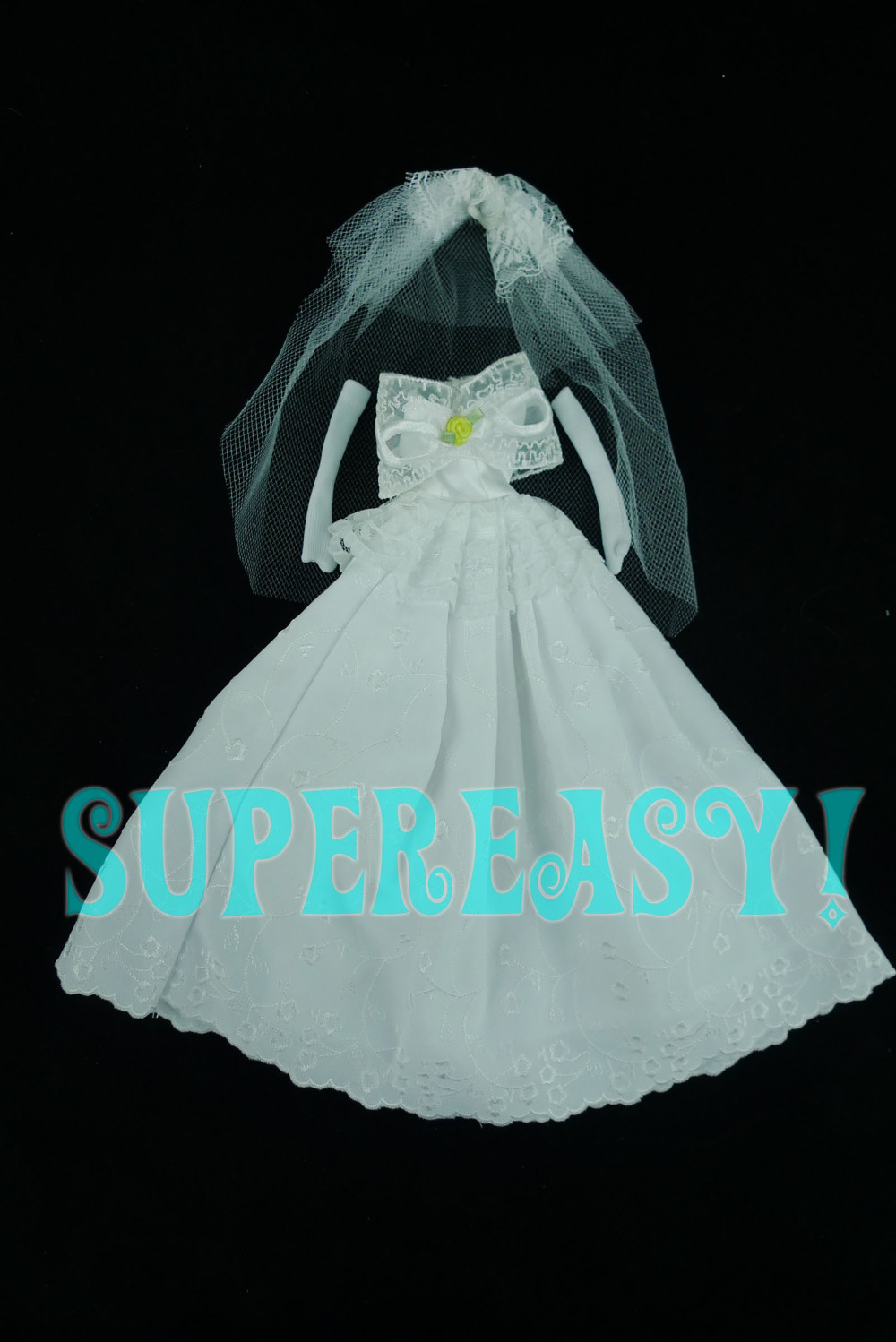 Attractive Marriage ceremony Costume Princess Robe Veil + Gloves Social gathering Costume Garments For Barbie Doll White Color Child Birthday Toy Present