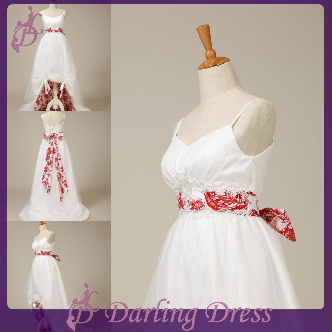 Cx382 spaghetti straps beautiful sash embroidery short for Cheap white and red wedding dresses