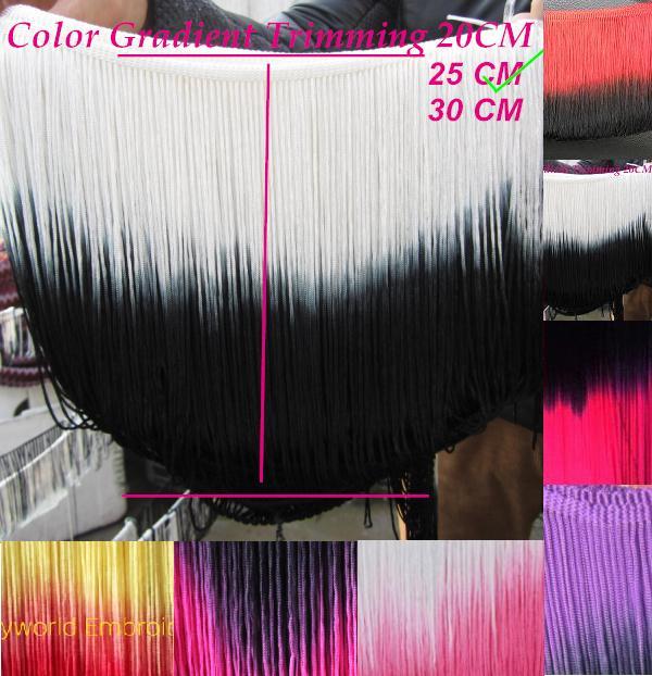 25cm Dip dye ombre Rayon Tassel bright fluro fringe macrame Gradient fringe 6 colors loop bottom(China (Mainland))