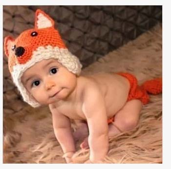 Hand knitted baby clothes fox design photography newborn photography props(China (Mainland))