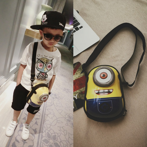 Cute Cartoon Minion Shoulder Bag Kids Messenger Bags For School Girls Boys Despicable Me Bag For Children(China (Mainland))