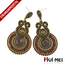 2 colors Vintage Women Exaggerated Ethnic Charms Beads Pendants Statement Drop Earrings for Women Fashion Bijoux Bohemia Brincos(China (Mainland))