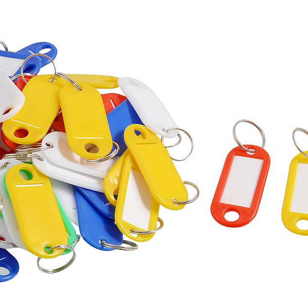 5 x (50 Pcs Colorful Key ID Label Tags Split Ring Keyring Keychain(China (Mainland))