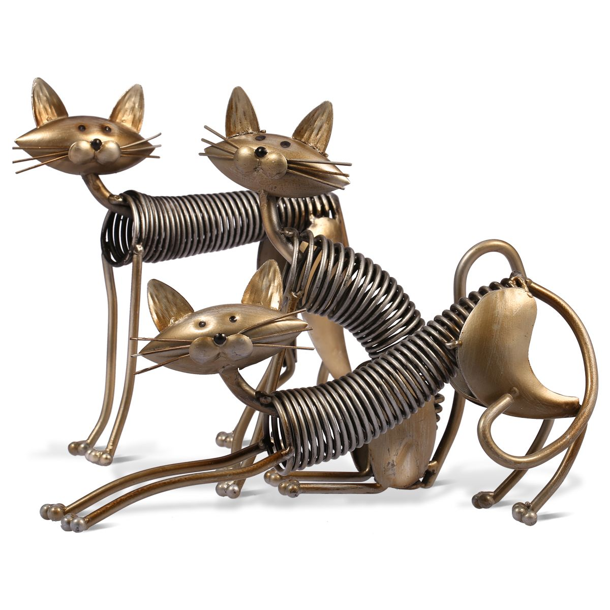 Metal Sculpture Iron Art Cat Spring Cat Handicraft Crafting Furnishing Ornaments Fairy Garden Home Decoration Accessories(China (Mainland))