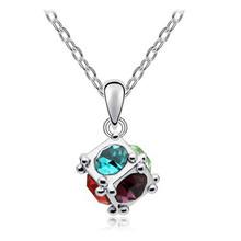 18K Rose Gold Plated Rhinestone ethnic jewelry colorful Rubik Cube Crystal Luxury Quartet Necklaces Pendants for women MLZ1111(China (Mainland))