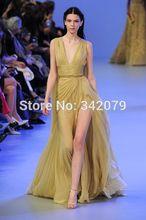 ph04508 golden rod sleeveless deep v neckline silk mousseline draped dress a high slit elie saab couture 2014 long dress party(China (Mainland))