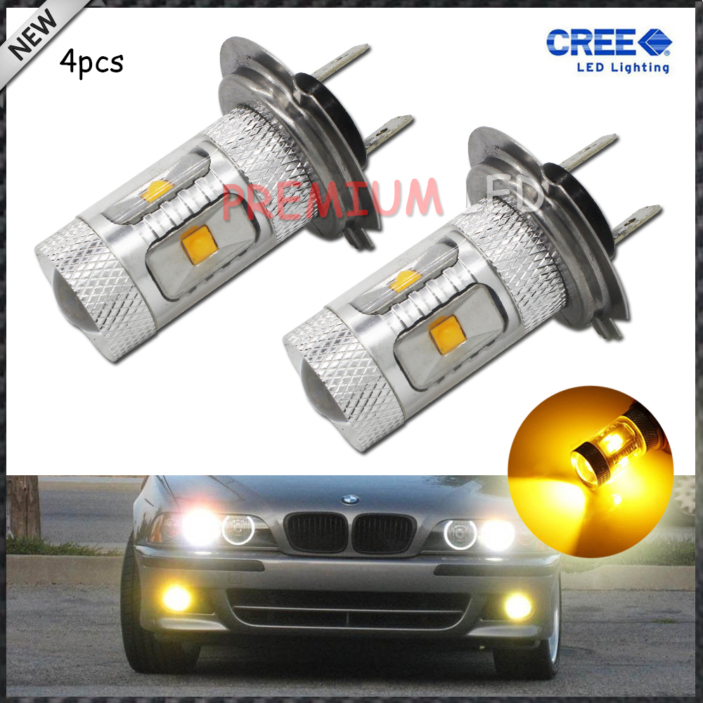 4pcs JDM Gold Yellow 3000K 30W CREE High Power H7 LED Replacement Bulbs For Fog Lights, Driving Lights<br><br>Aliexpress