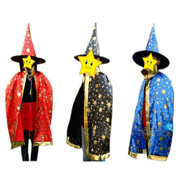 Boy Girl Kids Children Halloween Costumes Witch Wizard Cloak Gown Robe and Hat Cap Stars Fancy 5 Color for Children Boys Girls(China (Mainland))