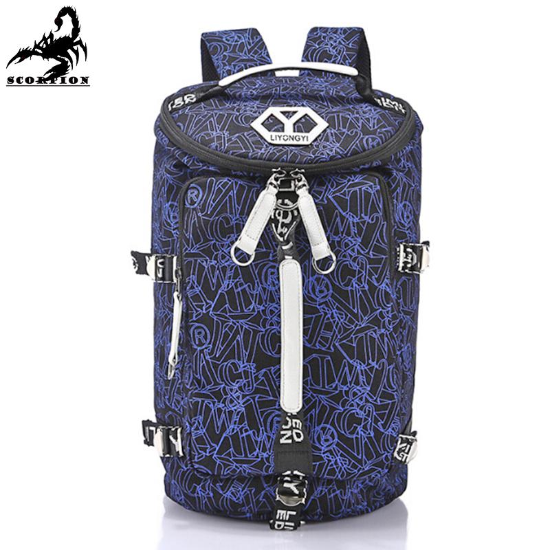 Travel Bag Mens Canvas Backpack Blue Fashion Casual Printed Barrel Backpacks Hiking Zipper Bag Unisex Travel Bag Mens(China (Mainland))