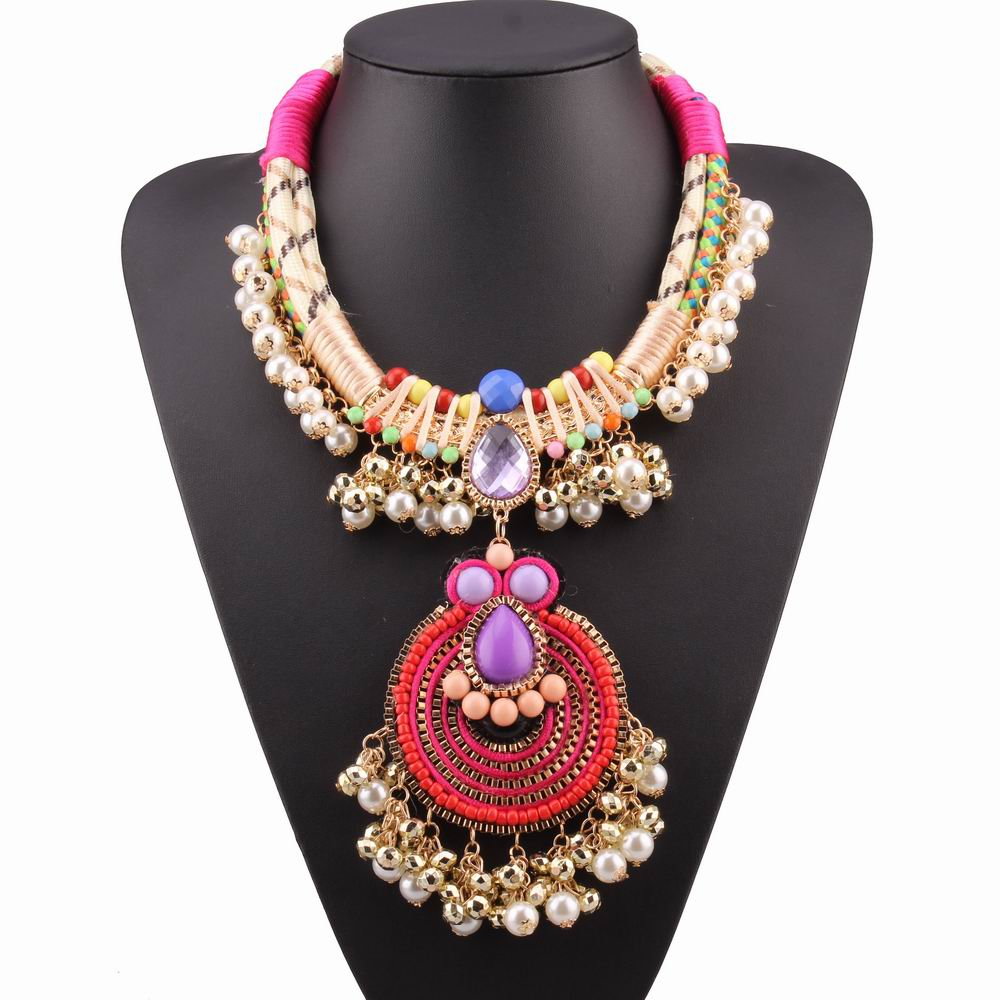 colorful bead bib multi layer rope chain pendant statement chunky pearl necklace women 2016 brand new design fashion necklace(China (Mainland))